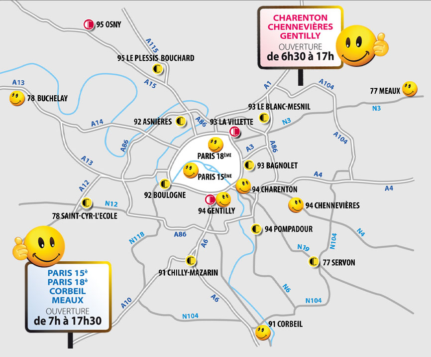 Carte des Points de vente Colorine, distributeur de produits de décoration en Île-de-France